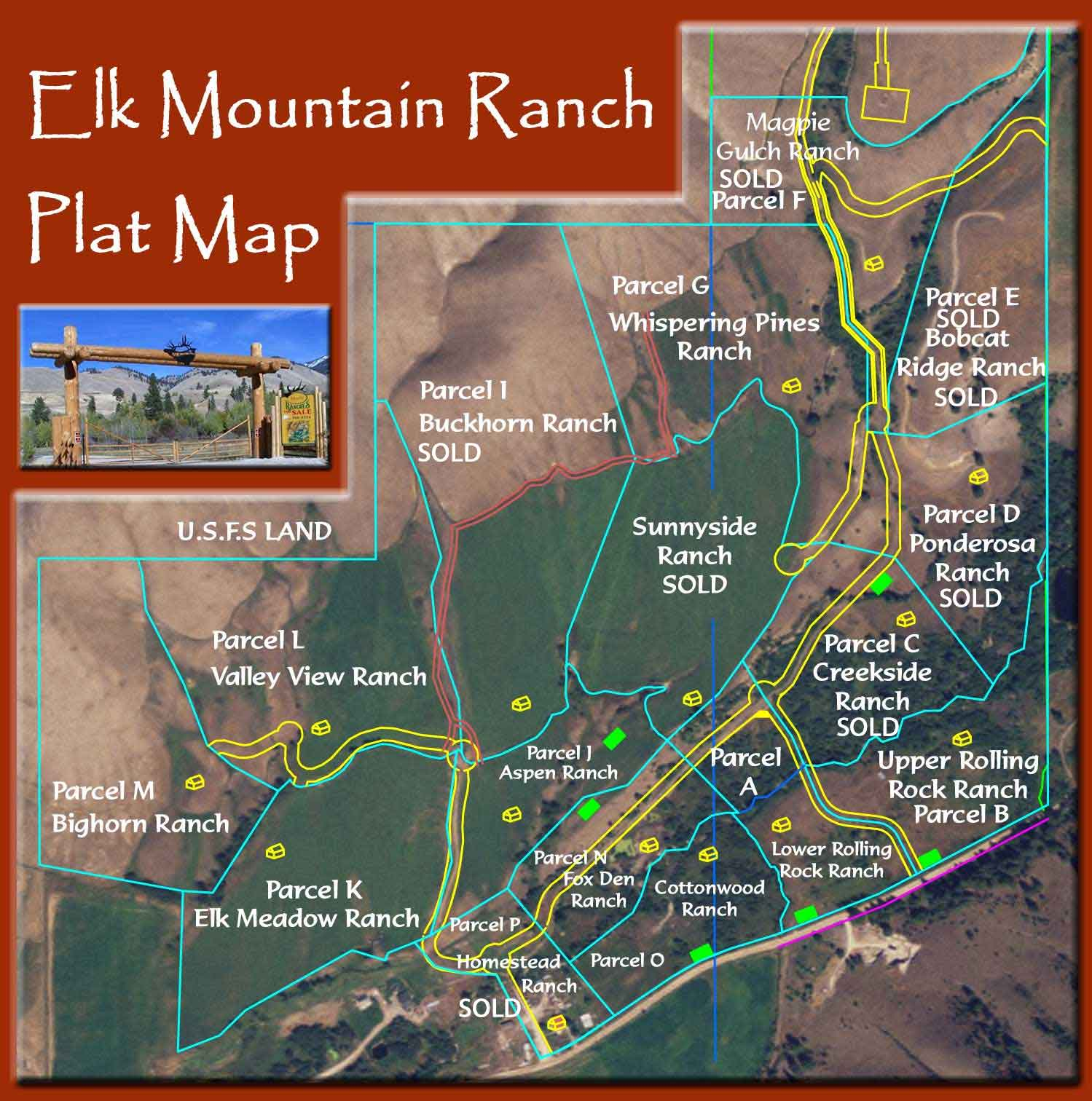 Elk Mountain Ranch Plat Map showing Parcel Division